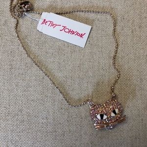 NWT Betsey Johnson pink kitty necklace.